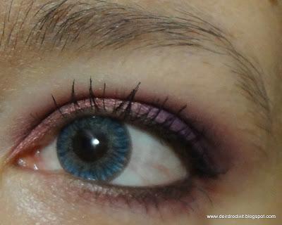 Dettaglio lente Tri tone light blue applicata su occhio scuro