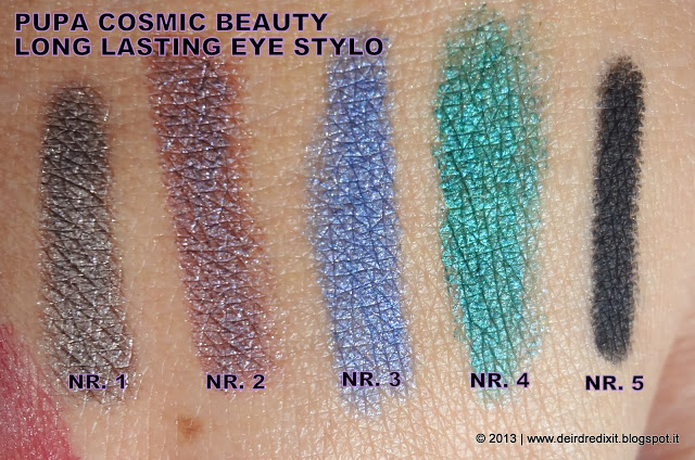 Pupa Long Lasting Eye Stylo Swatches - Cosmic Beauty Collection