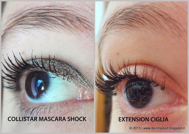 Paragone tra l'effetto del mascara Collistar e l'effetto extension ciglia