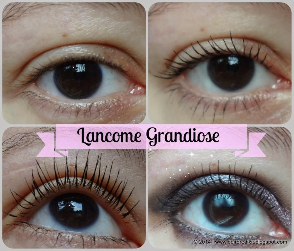 Foto dell'occhio struccato e dell'occhio con il nuovo mascara Grandiôse di Lancôme