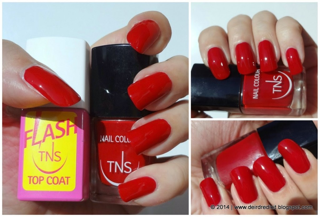 Flash Top Coat e smalto Iconic Red di TNS Cosmetics