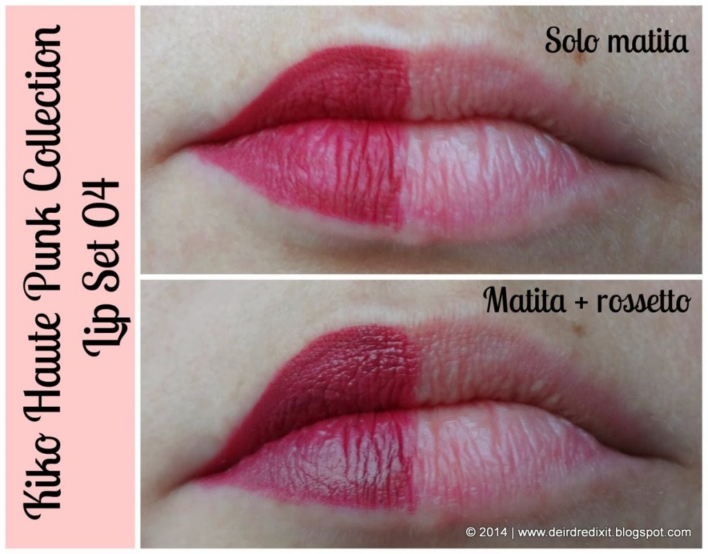 Kiko Lip Set 04 - swatch matita e rossetto- Haute Punk Collection