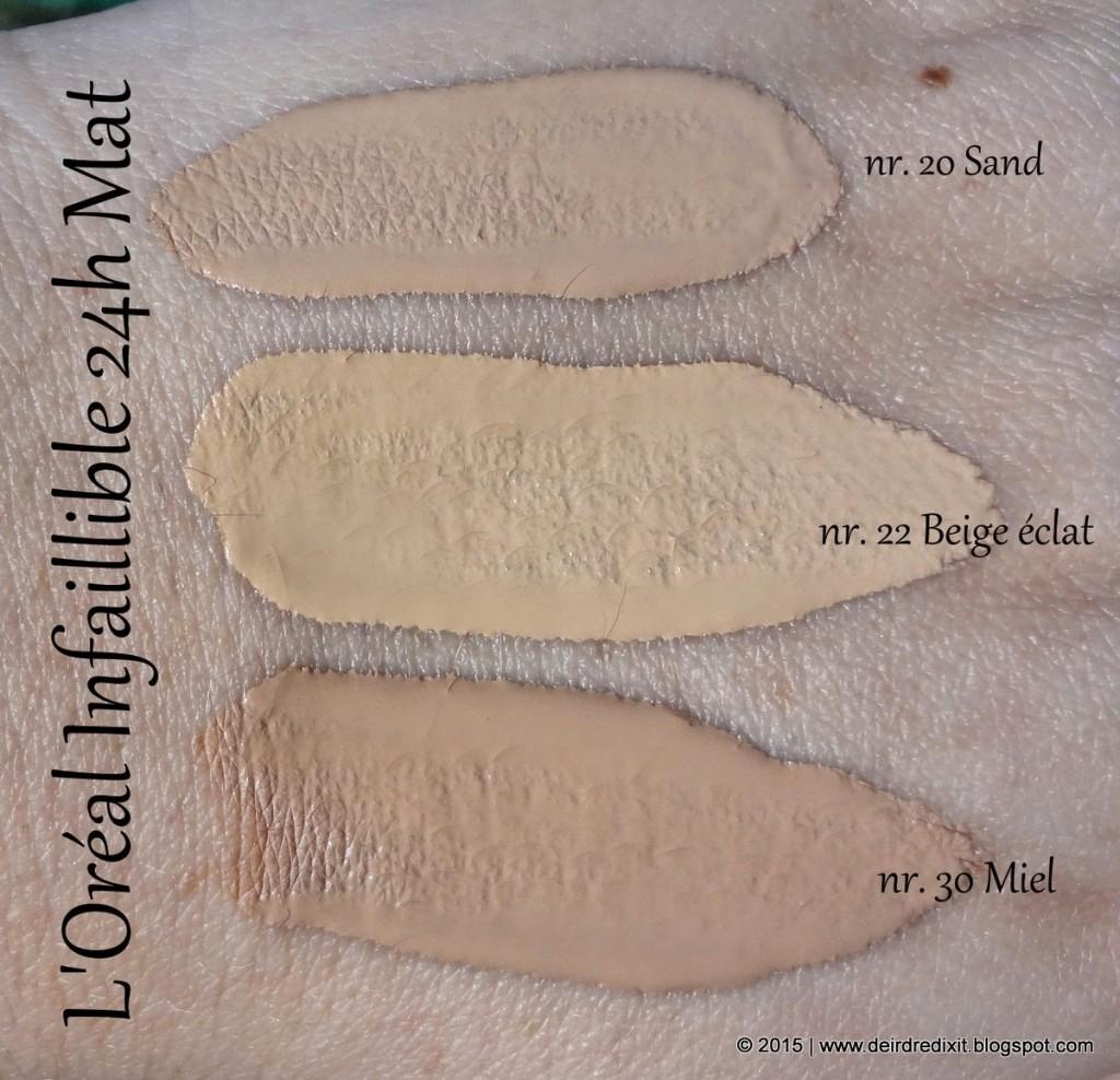 L'Oréal Infaillible 24h Mat Swatches