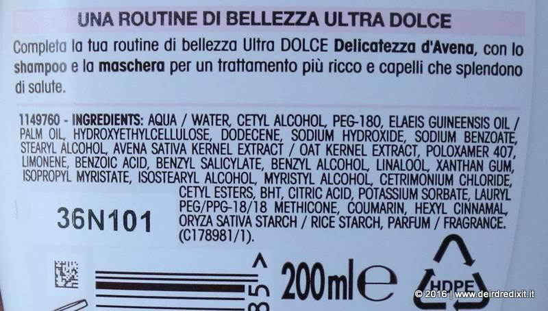 INCI Garnier Ultra Dolce Delicatezza D'avena Balsamo