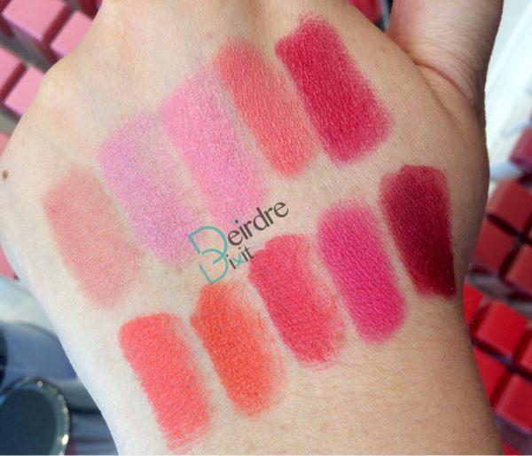Swatch dei 10 Chubby lipstick 3INA in gamma